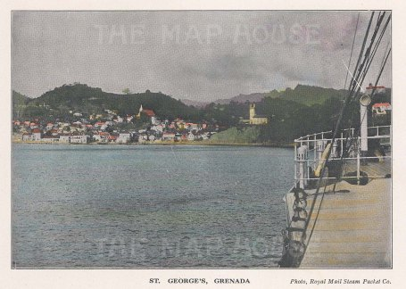 """R.M.S.P Co.: St George's, Grenada. c1920. An original tinted vintage photo-lithograph. 6"""" x 4"""". [WINDp1230]"""