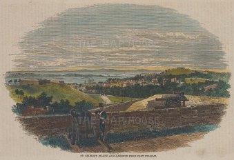 "Illustrated London News: St George's, Bermuda. c1870. A hand coloured original antique wood engraving. 9"" x 6"". [WINDp1244]"