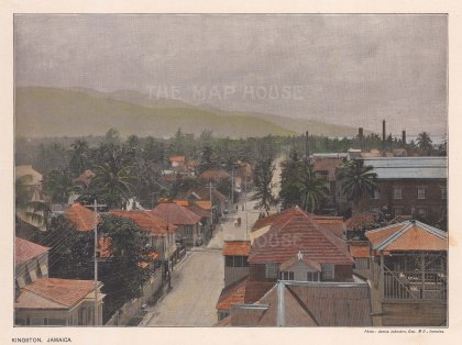 "Johnson: Kingston, Jamaica. c1900. A hand coloured original antique photo-lithograph. 24"" x 18"". [WINDp926]"