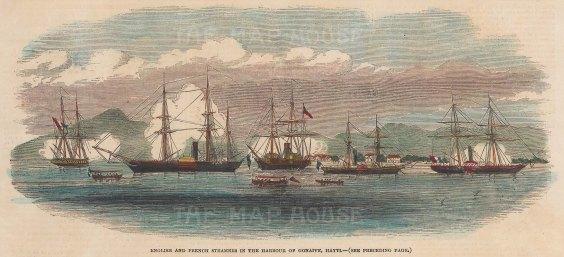 "Illustrated London News: Gonaive, Haiti. 1851. A hand coloured original antique wood engraving. 9"" x 5"". [WINDp996]"