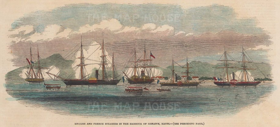 "Illustrated London News: Gonaive, Haiti. 1851. A hand coloured original antique wood engraving. 9"" x 5"". [WINDp996]"