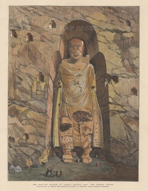 Bamiyan: View of the first and principal statue of Buddha. After Captain Philip Maitland Afghan Boundary Commission.