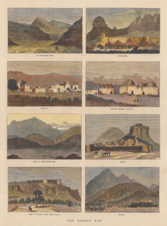 Solan Pass: Eight views of Solan Pass, Kandahar, Gundava, Goondan, Kelat, Kullan Goti and Quetta.