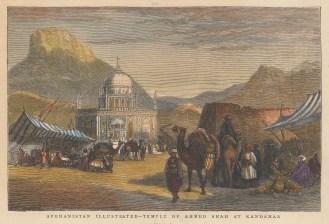 "Graphic Magazine: Temple of Amid Shah, Kandahar. 1878. A hand coloured original antique wood engraving. 9"" x 6"". [AFGp166]"