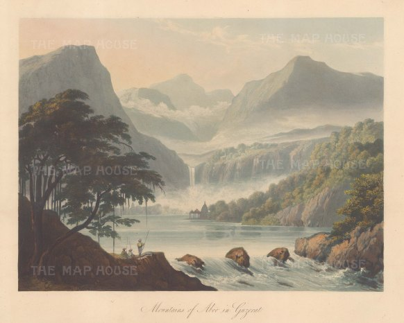 Gujaret: Mount Abu. View of the mountains and source of the Saraswati river. After Sir Charles Chambers.