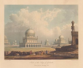 Telangana: Golconda. Panoramic view of the Qutb Shahi Tombs with the tomb of Muhammad Quli Qutb Shah at the centre.