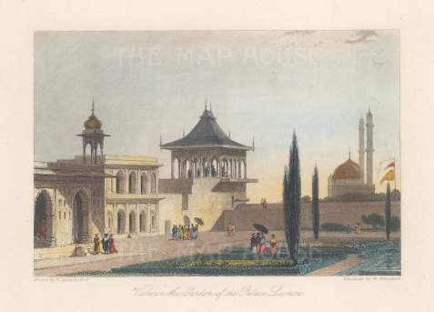 Lucknow: A view in the garden of the Kaiserbagh Palace. After William Daniell.