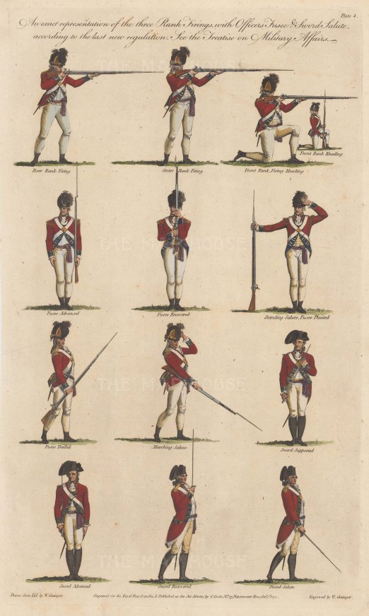 Twelve examples of the three Rank Firings, Officer Fusee and Sword Salute.