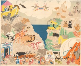 London Underground: From the Ark to Regent's Park by the Swedish artist Arnrid Johnston.. Poster showing the animals of Noah's ark travelling by Underground from Mt Ararat to their new homes at London Zoo in Regent's Park.