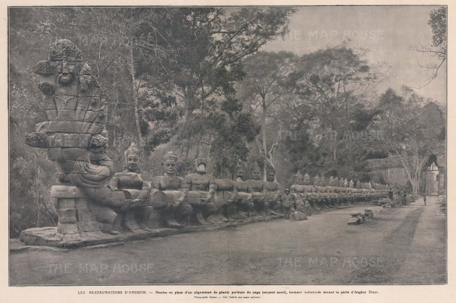 Cambodia. Angkor Thom: Restoration of the North Gate Bridge under the supervision of the Ecole Française d'Extrème Orient.