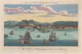"Middleton: Malacca, Malaysia. 1778. A hand coloured original antique copper engraving. 12"" x 7"". [SEASp1757]"