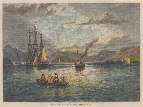 """Brown: Puntarenas, Costa Rica. 1885. A hand coloured original antique wood engraving. 8"""" x 6"""". [CAMp227]"""