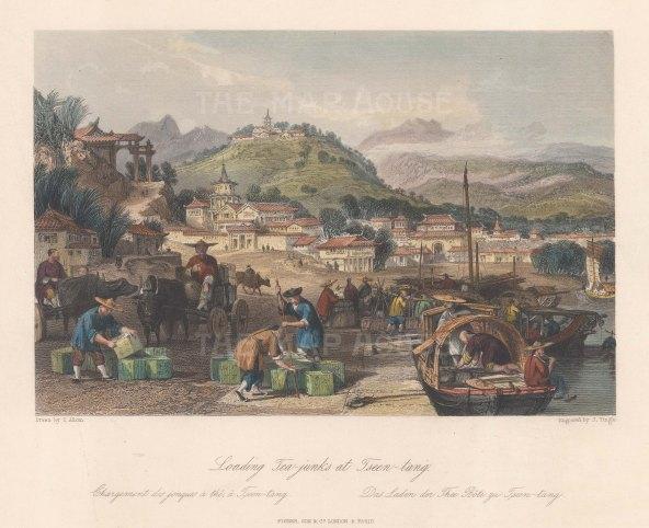 "Wright: Tsen-tang. 1847. A hand coloured original antique steel engraving. 9"" x 7"". [CHNp1157]"