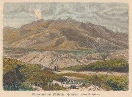 """Geiltbeck: Quito and Pinchincha, Ecuador. 1897. A hand coloured original antique wood engraving. 5"""" x 4"""". [SAMp1106]"""
