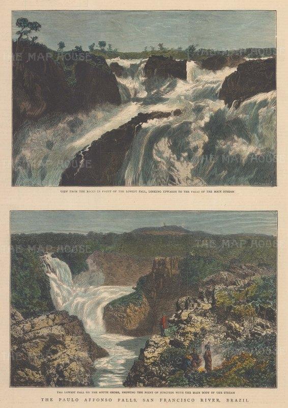 "Graphic Magazine: Paulo Affonso Falls. 1881. A hand coloured original antique wood engraving. 10"" x 13"". [SAMp1242]"