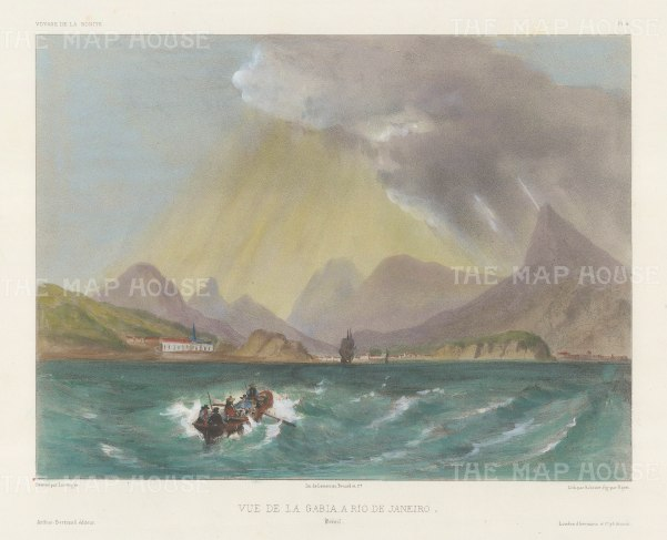 Rio de Janeiro: View of the entrance and outskirts of Rio from the Alantic. After Barthélemy Lauvergne, artist on the voyage of La Bonite 1836-7.