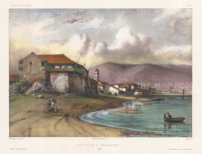 "Capt. Vaillant: Valparaiso, Chile. c1850. A hand coloured original antique lithograph. 13"" x 10"". [SAMp1285]"