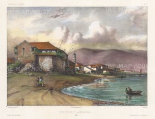 "Capt. Vaillant: Valparaiso, Chile. c1850. A hand coloured original antique lithograph. 13"" x 10"". [SAMp1285]"