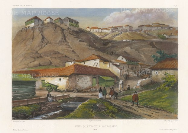 "Capt. Vaillant: Valparaiso, Chile. c1850. A hand coloured original antique lithograph. 13"" x 10"". [SAMp1286]"