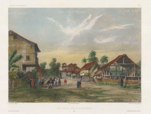 "Capt. Vaillant: Santiago de Guayaquil, Ecuador. c1850. A hand coloured original antique lithograph. 14"" x 10"". [SAMp1333]"