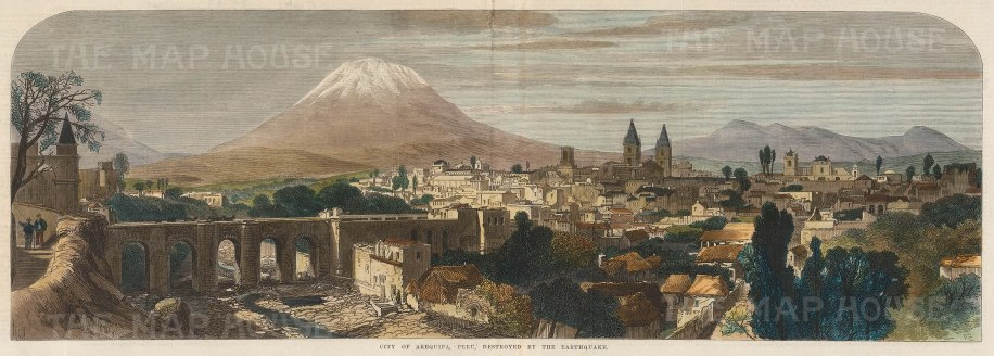 "Illustrated London News: Arequipa, Peru. 1868. A hand coloured original antique wood engraving. 22"" x 8"". [SAMp1355]"