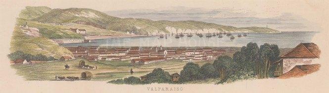 "Anonymous: Valparaiso, Chile. c1850. A hand coloured original antique wood engraving. 9"" x 3"". [SAMp1367]"