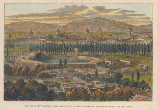 "Illustrated London News: Lima, Peru. 1881. A hand coloured original antique wood engraving. 8"" x 6"". [SAMp1385]"