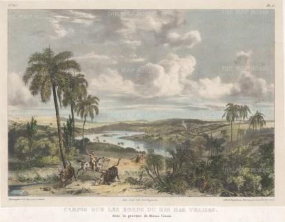 """Rugendas: Rio das Velhas. 1835. An original colour antique lithograph. 13"""" x 10"""". [SAMp1397]"""