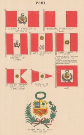Peruvian Ensign and President's Standard with national, merchant and military flags.
