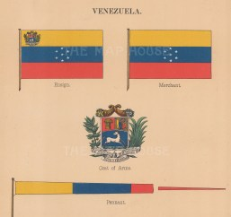 Ensign and merchant flags with pennant and coats of arms.