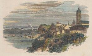 "Illustrated London News: Bahia. 1864. A hand coloured original antique wood engraving. 8"" x 6"". [SAMp1447]"