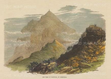 "Illustrated London News: Pico Naiguata, Venezuela. 1886. A hand coloured original antique wood engraving. 9"" x 6"". [SAMp1459]"
