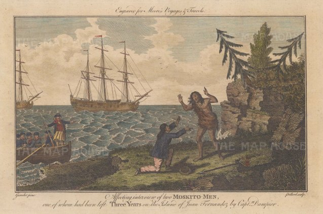 Chile: Fernandez island. Meeting of Moskito Indians. Robin and the marooned William rescued in 1684 by Capt William Dampier.