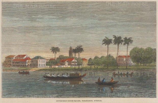 "Illustrated London News: Paramaribo, Suriname. 1864. A hand coloured original antique wood engraving. 10"" x 7"". [SAMp1478]"