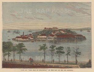 "Brown: Islands of Serpents, Rio de Janiero. 1885. A hand coloured original antique wood engraving. 5"" x 4"". [SAMp1482]"