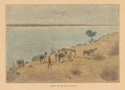 "Reclus: Rio Neque, Argentina. 1894. A hand coloured original antique wood engraving. 8"" x 6"". [SAMp646]"