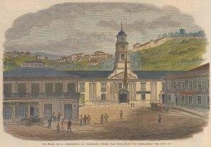 "Illustrated London News: Plaza de la Intendencia, Valparaiso, Chile. c1860. A hand coloured original antique wood engraving. 9"" x 6"". [SAMp859]"