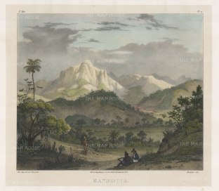 View towards Fazenda Mandiocca (Cassava Farm) north of Rio, and owned by the artist's patron Baron Landsdorff the Russian consul general. With the artist sketching in the foreground.