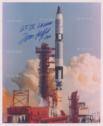 Moon: Gemini 9 launch photograph signed by NASA astronaut and commander of Gemini 9, Tom Stafford. Framed.