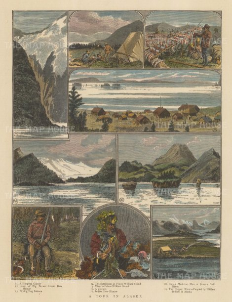 "Illustrated London News: Prince William's Sound, Alaska. 1890. A hand coloured original antique wood engraving. 10"" x 14"". [USAp4867]"