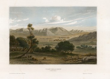 "]Meyer: Tintalust, Niger. 1841. A hand coloured original antique steel engraving. 7"" x 5"". [AFRp1387]"