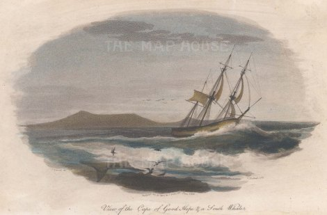 Cape of Good Hope: View of a South Whaler rounding the Cape.