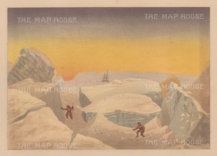 Men climbing on iceberg: From Expedition of HMS Alert, 1875-77: