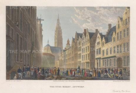 "Batty: Antwerp, Belgium. 1825. A hand coloured original antique steel engraving. 7"" x 4"". [BELp276]"