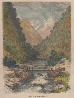 "Garnier: Pahara Valley, Nicargaua. 1876. A hand coloured original antique wood engraving. 5"" x 6"". [CAMp174]"