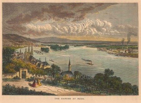 "Picturesque Europe: Budapest, Hungary. c1880. A hand coloured original antique wood engraving. 10"" x 6"". [CEUp447]"