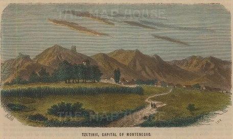 "Collins: Cetinje, Montenegro. c1870. A hand coloured original antique wood engraving. 6"" x 4"". [CEUp464]"