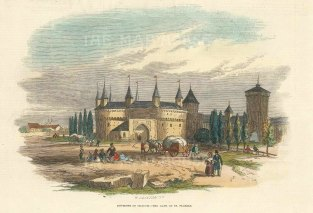 """Illustrated London News: Cracow, Poland. 1876. A hand coloured original antique wood engraving. 7"""" x 5"""". [CEUp498]"""