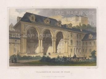 "Meyer: Prague, Czech Republic. 1856. A hand coloured original antique steel engraving. 4"" x 6"". [CEUp527]"