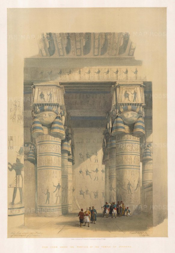 Dendera: View from under the Portico of the Temple at Dendera. The Temple of Hathor or Tenyra was begun in the 4th century by Neferjahor